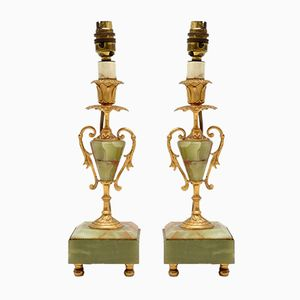 Vintage French Metal & Onyx Table Lamps, 1930s, Set of 2