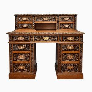 Antiker viktorianischer Schreibtisch aus Leder & geschnitzter Eiche