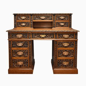 Antique Victorian Leather and Carved Oak Desk
