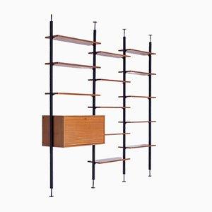 Mueble de pared minimalista vintage de hierro y nogal con escritorio de Jos de Mey para Van den Berghe Pauvers, años 60