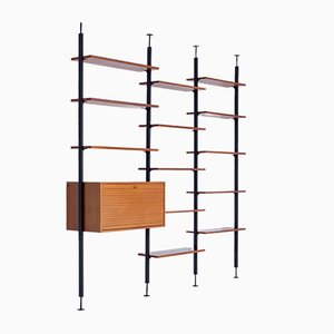 Vintage Minimalist Iron and Walnut Wall Unit with Desk by Jos de Mey for Van den Berghe Pauvers, 1960s