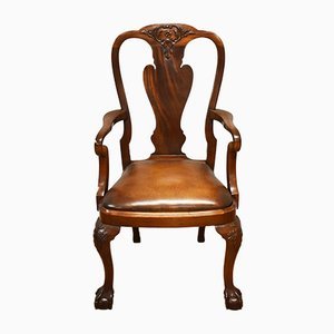 Antique Queen Anne Style Mahogany & Leather Armchair