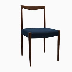 Danish Blue Cotton & Teak Chair, 1960s