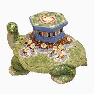 Chinesischer Mid-Century Pflanzenständer in Schildkröten-Optik aus Keramik