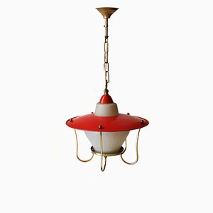 French Metal & Glass Pendant Lamp, 1950s