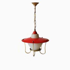 Lámpara colgante francesa de metal y vidrio, años 50