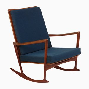 Danish Fabric and Teak Rocking Chair by Ib Kofod Larsen for Christian Linneberg, 1960s