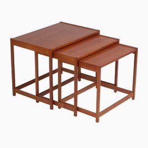 Tables Gigognes Vintage en Teck par Kurt Østervig pour KP Møbler, 1960s, Set de 3