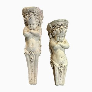 Antique Plaster Cherub Corbels, Set of 2