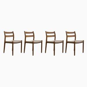 Dänische Esszimmerstühle aus Eschenholz von Niels Otto Møller, 1970er, 4er Set