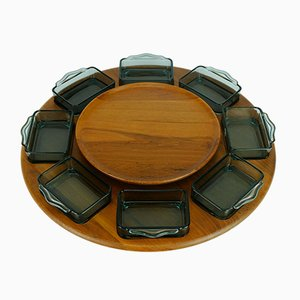 Danish Teak & Pressed Glass Rotatable Lazy Susan Serving Dish from Digsmed, 1970s