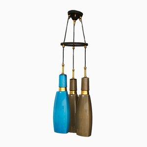 Lampada da soffitto in ottone, ferro e vetro opalino di Vistosi, Italia, anni '50