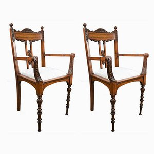 Antique Victorian Inlaid Mahogany Side Chairs by James Shoolbred, Set of 2