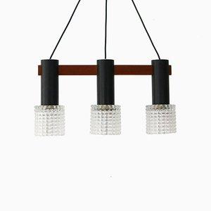 Lámpara de techo triple de teca, acero y vidrio, años 60