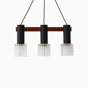 Teak, Steel & Glass Triple Ceiling Lamp, 1960s