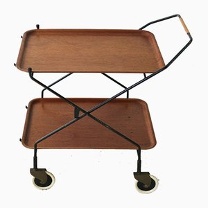 Mid-Century Steel and Teak Trolley with Trays, 1950s