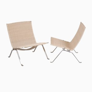 Vintage Steel Lounge Chairs by Poul Kjærholm for Fritz Hansen, 1980s, Set of 2