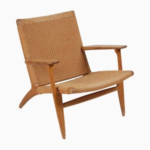 Vintage Danish Oak Lounge Chair by Hans J. Wegner for Carl Hansen & Søn, 1960s