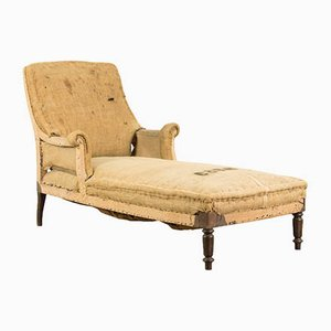 Antique French Wood and Hemp Chaise Lounge