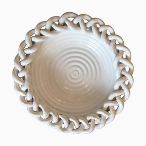 French White Braided Ceramic Bowl, 1950s