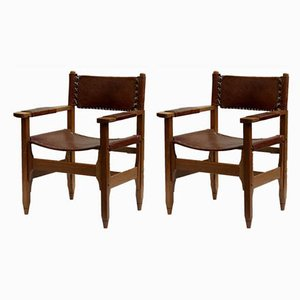 Columbian Leather and Teak Armchairs by Biermann Werner for Arte Sano, 1960s, Set of 2