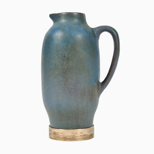 Carafe en Céramique Bleue et Argent, 1950s