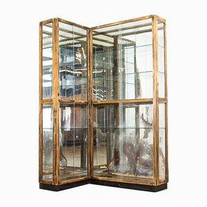 Antique Antiqued Glass and Mirrored Glass Corner Display Case