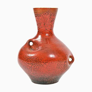 Vase en Céramique Rouge de Accolay, France, 1950s
