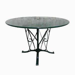 Industrieller französischer Mid-Century Gartentisch aus Stahl & Glas, 1950er
