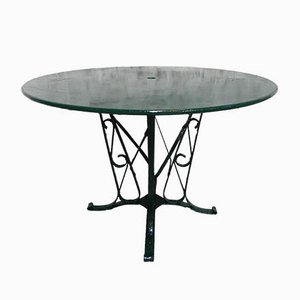 Mid-Century Industrial French Steel and Glass Garden Table, 1950s