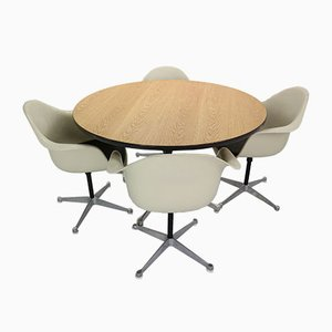 Dining Table & Chairs Set by Charles & Ray Eames for Herman Miller, 1950s, Set of 4