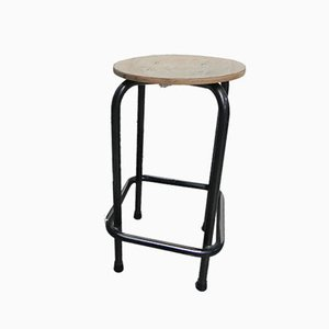 Mid-Century Industrial Plywood and Steel Stool, 1960s