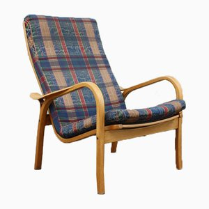 Vintage Birch & Fabric Lounge Chair by Yngve Ekström for Swedese, 1970s