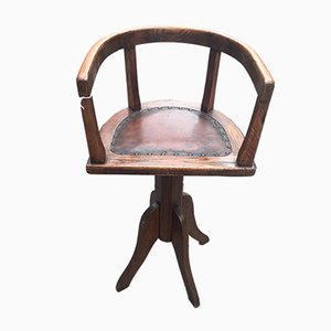 Vintage German Cast Iron & Oak Swivel Chair, 1930s