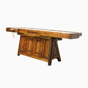 Banco de carpintero portugués Mid-Century de pino, años 50