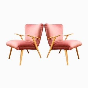 Dänische Mid-Century Sessel aus rosafarbenem Samt, 1960er, 2er Set