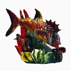 Lámpara de mesa italiana en forma de pez de cerámica de Ceramiche Albisola, años 60
