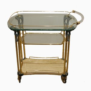 Mid-Century Bronze Drinks Trolley with Marble Top, 1960s