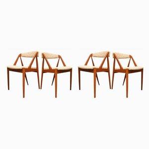 Dänische Esszimmerstühle aus Teakholz von Kai Kristiansen für Schou Andersen, 1950er, 4er Set