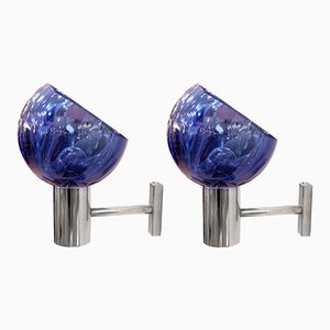 Blue Glass Wall Lights by Archimede Seguso, 1960s, Set of 2