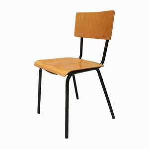 Industrial Italian Iron & Pagwood Stackable Chair, 1950s