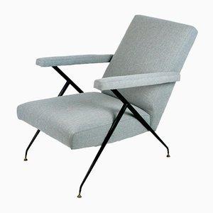 Sillón reclinable italiano Mid-Century de latón y metal, años 60