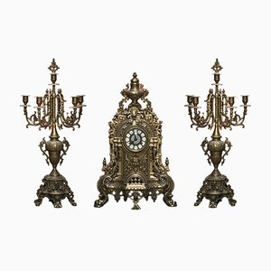 Large Italian Brass Clock & 2 Candleholders Set by Franz Hermle, 1960s
