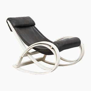 Italian Leather Sgarsul Rocking Chair by Gae Aulenti for Poltronova, 1962