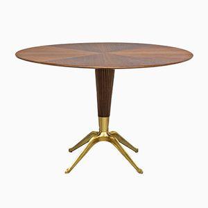 Bega Tisch aus Messing & Nussholz von Melchiorre Bega, 1948