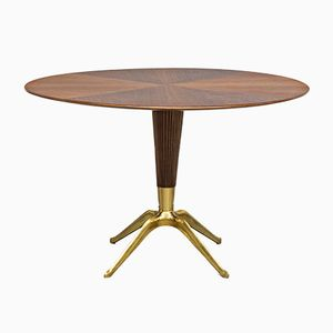 Brass and Walnut Bega Table by Melchiorre Bega, 1948