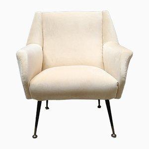 Mid-Century Italian Velvet Lounge Chair, 1950s