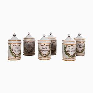 Porcelain Pharmacy Jars, 1850s, Set of 6