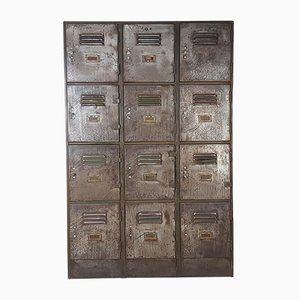 Vintage Industrial Stripped Steel 12 Locker Cabinet