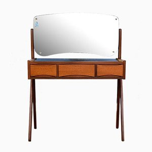 Danish Mirrored Glass & Teak 3-Drawer Vanity by Arne Vodder, 1960s